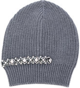 No.21 crystal embellished ribbed beanie - women - Silk/Virgin Wool/metal/glass - One Size