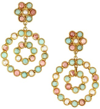 Sylvia Toledano Flower Candies 22K Goldplated & Multi-Stone Clip-On Drop Earrings