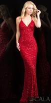 Scala Fully Sequined Open Back Gown