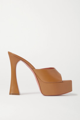 Amina Muaddi - Dalida Leather Platform Mules - Tan