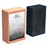 [USA] SAPO Bamboo Charcoal Soap Bar-Natural US Handmade & Organic - Helps with Acne, Psoriasis, Eczema - Gentler Than African Black, Dead Sea, Castile Soaps - Has Coconut Oil, Oatmeal, Shea Butter