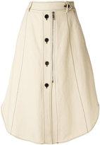 Sportmax buttoned midi skirt - women - Cotton/Linen/Flax/Viscose - 38