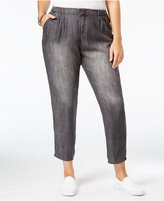 Standards and Practices Trendy Plus Size Cropped Grey Wash Straight-Leg Jeans