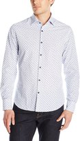 Stone Rose Men's Bowler Hat Print Long Sleeve Button Down Shirt