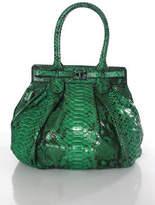Zagliani Green Python Pleated Double Handle Turn Lock Satchel Handbag New