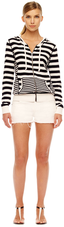Michael Kors Striped Zip-Front Sweater