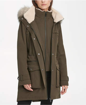 DKNY Faux-Fur-Trim Hooded Parka Coat