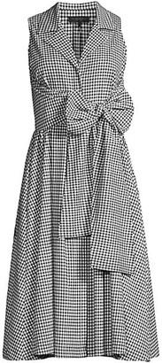 Donna Karan Gingham Sleeveless A-Line Shirtdress