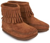 Minnetonka Tan Double Fringe Ankle Boots