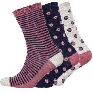 Jaeger Womens Three Pack Socks Ditsy Spot Grey Navy