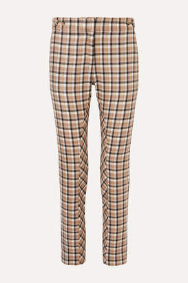 Paco Rabanne Chain-embellished Checked Wool-twill Straight-leg Pants - Beige