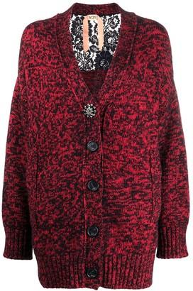 No.21 Lace Panel Detail Cardigan