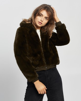 Staple the Label - Women's Green Jackets - Cora Faux Fur Bomber - Size 6 at The Iconic
