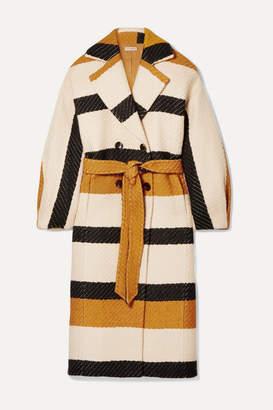 Ulla Johnson Lawson Double-breasted Striped Woven Coat - Neutral