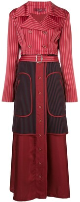 Sies Marjan Pinstriped Long Trench Coat