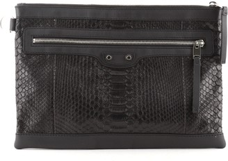 Balenciaga Classic City Clip Pouch Python Embossed Leather Medium
