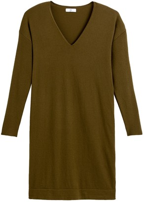 Mini Jumper Dress with V-Neck and Long Sleeves