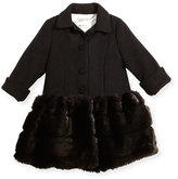 Helena Faux-Fur-Trim Button-Front Peacoat, Black, Size 7-14