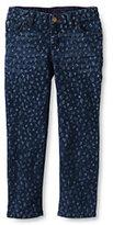 Classic Girls Plus 5-pocket Pattern Denim Skimmer Capri-Indigo Blue Floral