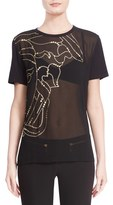 Versace Women's Half Medusa Golden Foil Embellished Sheer Tee