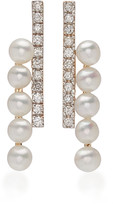 Mateo 14K Gold, Diamond and Pearl Bypass Earrings