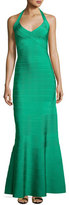 Herve Leger Halter Bandage Mermaid Gown, Green
