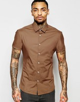 Asos Skinny Shirt In Rust With Short Sleeves