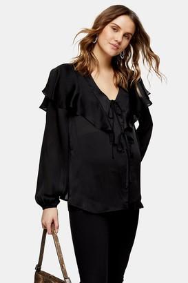 Topshop Womens **Maternity Black Plain Ruffle Shirt - True Leopard