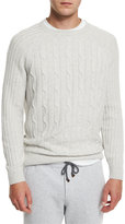 Brunello Cucinelli Cashmere Cable-Knit Crewneck Sweater, Fog