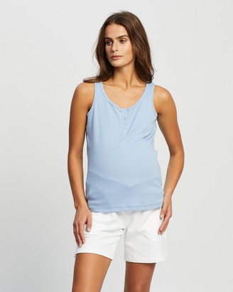 Cotton On Maternity - Women's Blue Maternity Singlets - Maternity Henley Sleeveless Tank - Size L at The Iconic