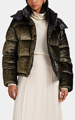 Moncler Women's Caille Velvet Oversized Down Puffer Coat - Gold