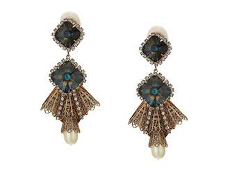Kenneth Jay Lane Antique Gold/Crystal Drop Clip Earrings with Atlas Center and Pearl Drop
