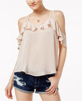 Almost Famous Crave Fame Juniors' Ruffled Racerback Cold-Shoulder Top