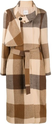 Alysi Checked Belted Coat