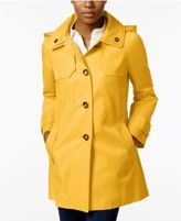 London Fog Hooded A-Line Double-Collar Raincoat