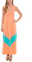Apricot & Aqua Chevron Empire-Waist Maxi Dress