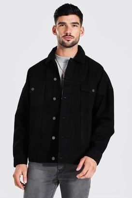 boohoo Mens Black Oversized Borg Collar Denim Jacket, Black