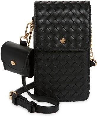 Mali & Lili Woven Vegan Leather Phone Crossbody Bag