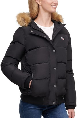 Levi's Women's Nylon Quilted Snorkel Bomber with Faux Fur Trimmed Hood