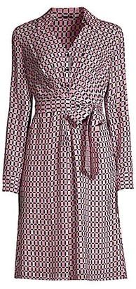 Elie Tahari Saxon Geometric-Print Tie-Waist Shirtdress