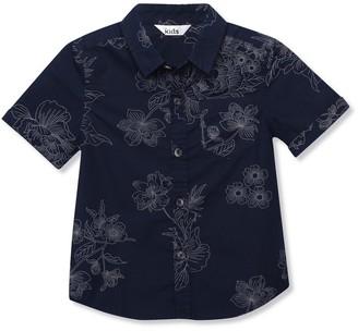 M&Co Navy floral print shirt (3yrs-12yrs)