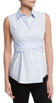 Derek Lam 10 Crosby Sleeveless Twist-Front Poplin Blouse, Sky