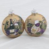 "Kurt Adler Set of 2 Tuscan Winery Themed Glass Ball Christmas Ornaments 3.5"" (90mm)"