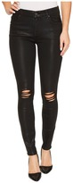 7 For All Mankind The Ankle Skinny w/ Destroy in Black Coated Fashion 3 Women's Jeans
