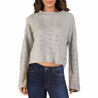Aqua Womens Gray Textured Long Sleeve Jewel Neck Sweater UK Size:8