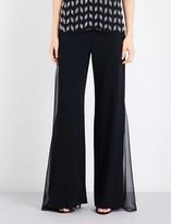 Cushnie et Ochs Sheer-panel high-rise wide crepe trousers