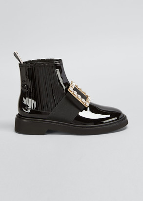 Roger Vivier Viv' Rangers Patent Chelsea Booties with Crystal Buckle