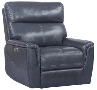Red Barrel Studio Wales Leather Power Recliner Upholstery Color: Indigo Blue