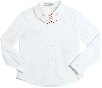 VIVETTA Embroidered Stretch Cotton Poplin Shirt