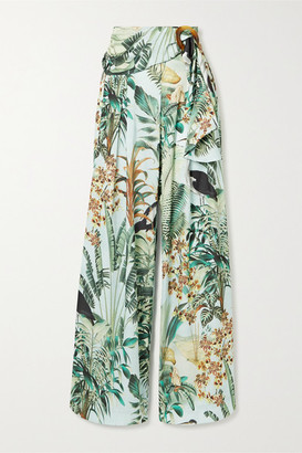 PatBO Eden Belted Pleated Printed Satin Wide-leg Pants - Mint